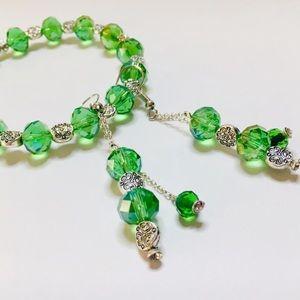 NWT Green Crystal Silver Bracelet Earrings Jewelry